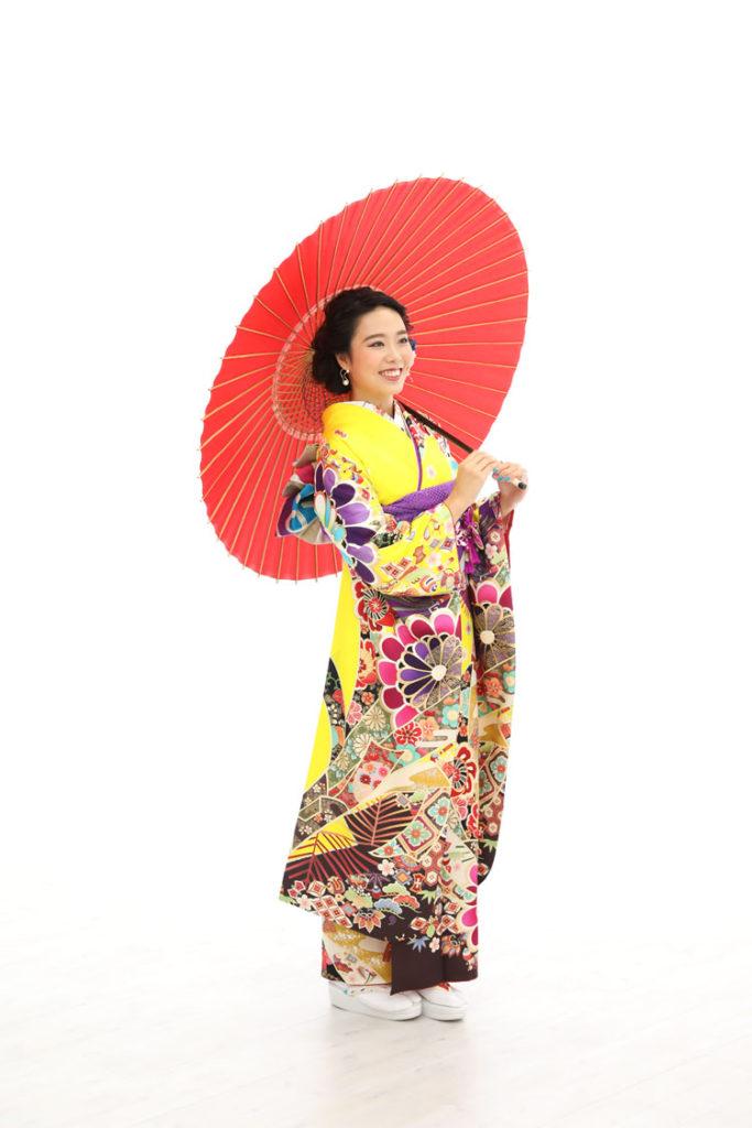 黄色振袖前撮り泉佐野傘