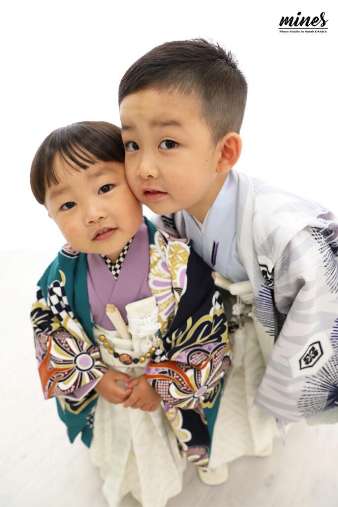 泉佐野店七五三兄弟撮影5歳3歳和装